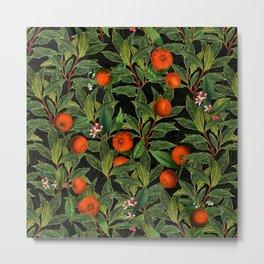 Vintage Exotic Midnight Oranges Botanical Garden Metal Print
