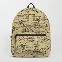F-18 Blueprints // Tan Backpack