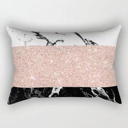 Modern black white marble rose gold color block stripes pattern Rectangular Pillow