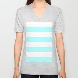 Wide Horizontal Stripes - White and Celeste Cyan Unisex V-Neck