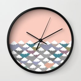 Nature background with Mountain landscape. Gray, pink, blue navy mountain with snow-capped peaks. Wall Clock