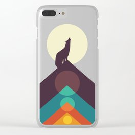 Howling Wild Wolf Clear iPhone Case