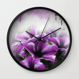 petunia on watercolor Wall Clock