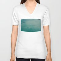airplane V-neck T-shirts featuring Airplane by Nick De Clercq