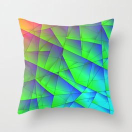 Bright fragments of crystals on irregularly shaped green and purple triangles. Throw Pillow