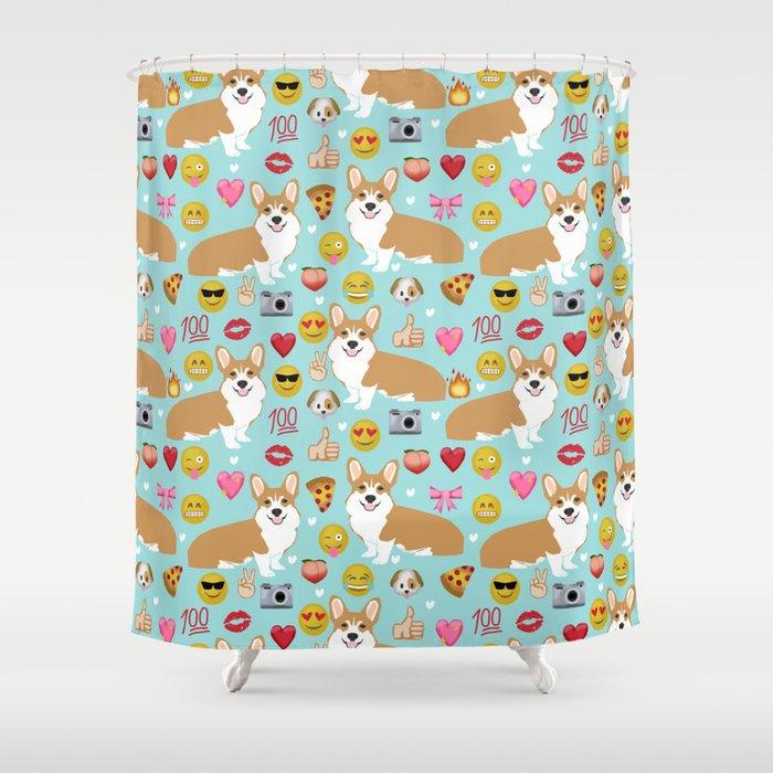 Corgi Emoji Funny Dog Gifts Emojis Shower Curtain By Corgicrew