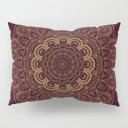 Gold Mandala on Royal Red Background Pillow Sham