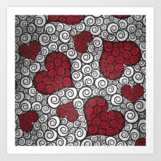 Hearts are Wild (Distressed) Art Print