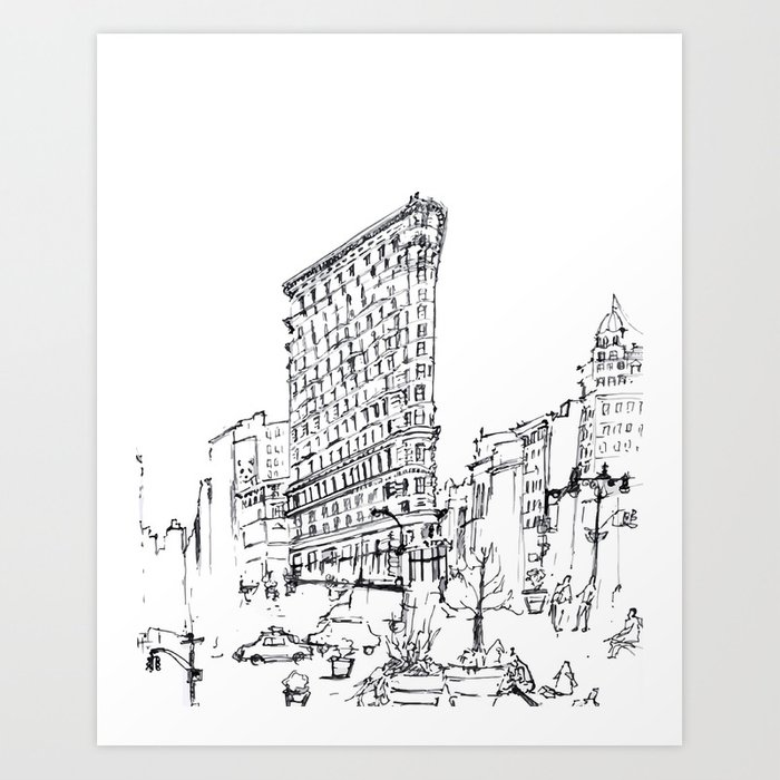 nyc flatiron building sketch art print by xiaotwinsdesign society6 nyc flatiron building sketch art print by xiaotwinsdesign