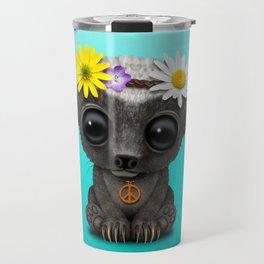 Cute Baby Honey Badger Hippie Travel Mug