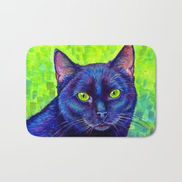 Black Cat with Chartreuse Eyes Bath Mat