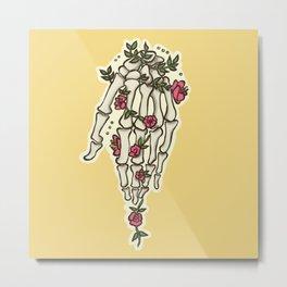 Flowery Hand Metal Print
