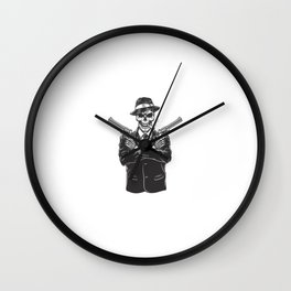 Skeleton Gangster With Revolvers Wall Clock