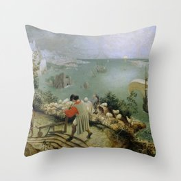 Pieter Bruegel the Elder - Landscape with the Fall of Icarus Throw Pillow
