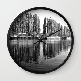 Barges on the River Oise Wall Clock