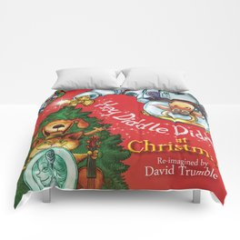"""""""Hey, Diddle, Diddle at Chistmas"""" (Mother Goose Retold-Front cover) Comforters"""