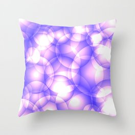 Gentle intersecting purple translucent circles in pastel shades with glow. Throw Pillow