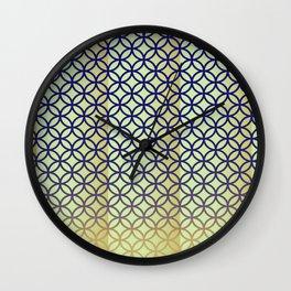 Navy beige Geometric pattern vintage Wall Clock