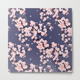 Sakura in night. Metal Print