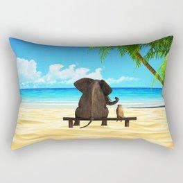 Relaxed elephants at sea Rectangular Pillow