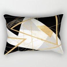 Black and Gold Geometric Rectangular Pillow