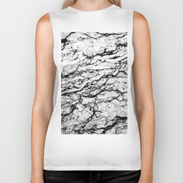 Black and White Marble Stone Pattern Biker Tank