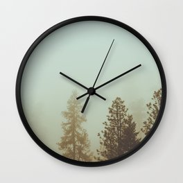 Pastel Green Adventure Forest Nature Photography Wall Clock