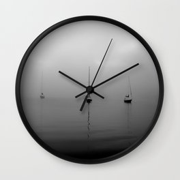 Foggy Harbor North Shore 7 BW Wall Clock