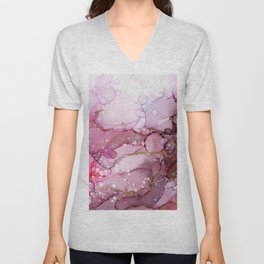 Cranberry Flamingo Abstract Ink - Part 2 Unisex V-Neck