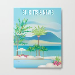 St. Kitts and Nevis - Skyline Illustration by Loose Petals Metal Print