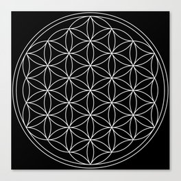 Flower of Life Black & White Canvas Print