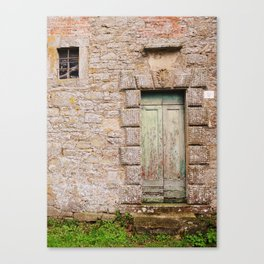 Green Door - Cortona, Italy Canvas Print