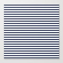 Navy Blue Nautical Stripes Minimal Canvas Print