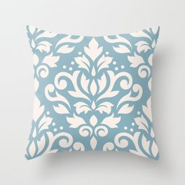 Scroll Damask Large Pattern Cream on Blue Throw Pillow