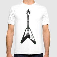 Guitar blk Mens Fitted Tee MEDIUM White