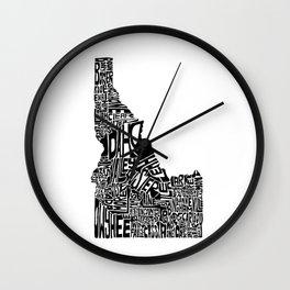 Typographic Idaho Wall Clock