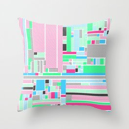 Pink, Blue & Green Throw Pillow