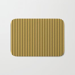 Spicy Mustard and Black Stripes Bath Mat