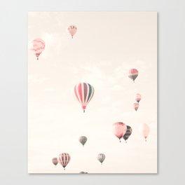 Hot Air Balloons, White Canvas Print