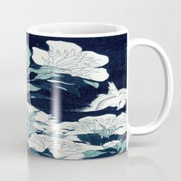 JAPANESE FLOWERS Midnight Blue Teal Coffee Mug