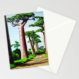 The Disappearing Giant Baobab Trees of Madagascar Landscape Painting Stationery Cards