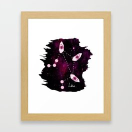 Libra Constellation in Pink Tourmaline - Star signs and birth stones Framed Art Print