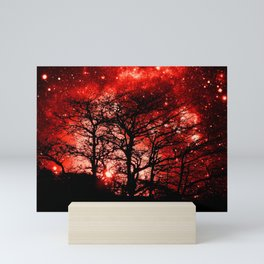 black trees red space Mini Art Print