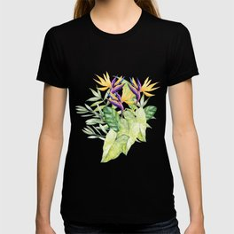 Watercolour Bird-of-Paradise Flowers and Leaves Pattern T-shirt