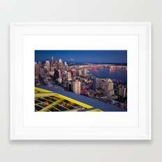 Seattle in the Evening, from the Space Needle Framed Art Print