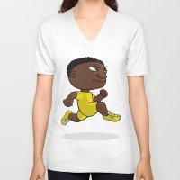 runner V-neck T-shirts featuring Runner by Jordygraph