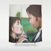 pride and prejudice Shower Curtains featuring Pride & Prejudice by Caroline Ward
