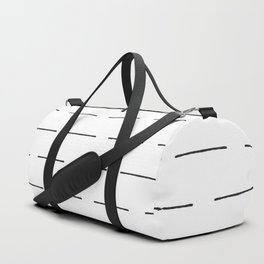 Block Print Lines in Black and White Duffle Bag