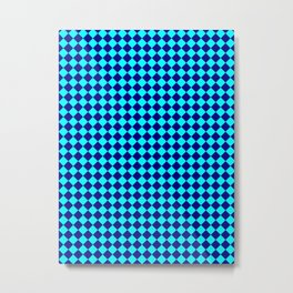Cyan and Navy Blue Diamonds Metal Print