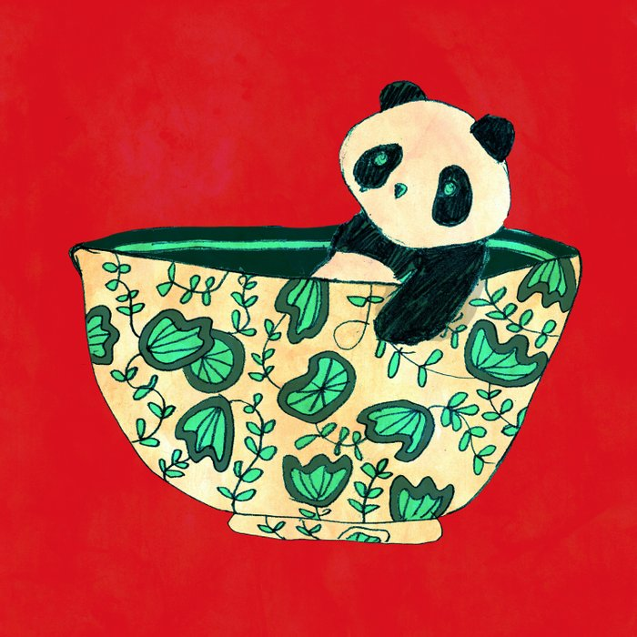 Dinnerware sets - panda in a bowl Duvet Cover